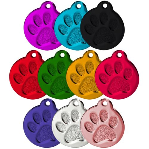 ROUND PAW ALLOY DOG ID NAME TAG DISC PERSONALISED ENGRAVED PET IDENTITY TAGS