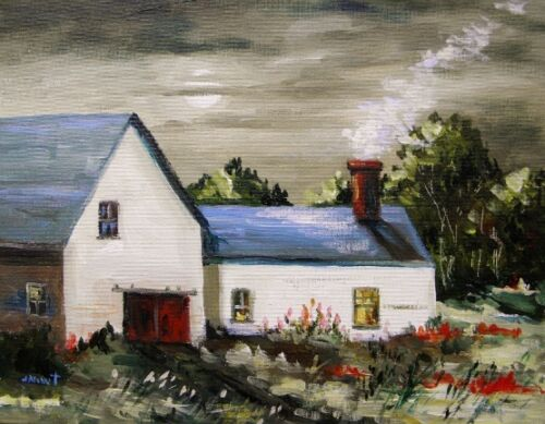 ORIGINAL Moon BARN FARM Landscape Painting JMW art John Williams Expressionism