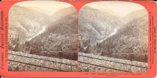 Houseworth Stereoview– The American River from Cape Horn Calif w/RR Tracks 1870s