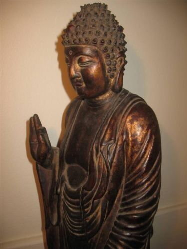 ANTIQUE 18th/ 19th CHINESE WOOD STATUE BUDDHA MING STYLE WANLY MARK 64 cm TALL!