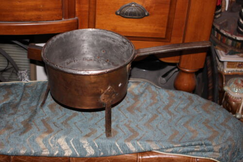 Antique Primitive Copper Metal Footed Cooking Vessel Pot Country Decor