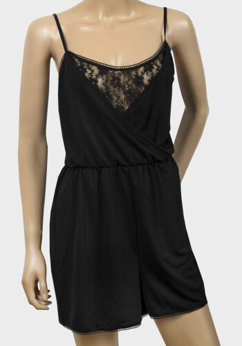 LADIES BLACK SLEEVELESS 100% POLYESTER SCOOP NECK LACE PLAYSUIT SIZES XS,S,M,L