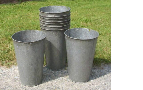 10 VERY NICE Vintage OLD GALVANIZED Maple Syrup Sap Buckets TAPERED W@W