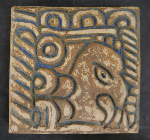 Vintage Tile with Mayan or Aztec Face