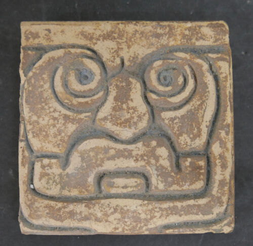 Vintage Tile with Aztec or Mayan Face