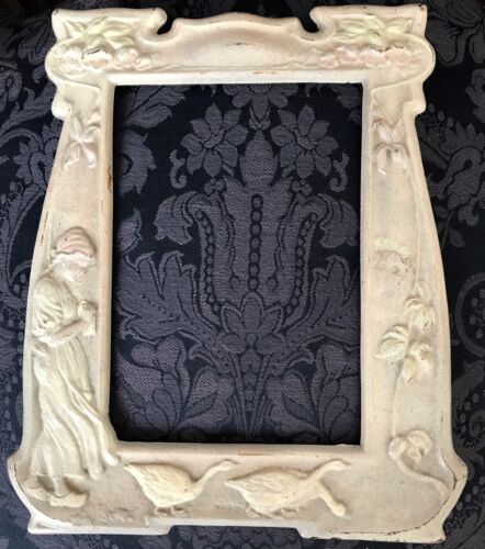 ANTIQUE ART NOUVEAU METAL PICTURE FRAME Dutch Girl Geese Design Very Nice