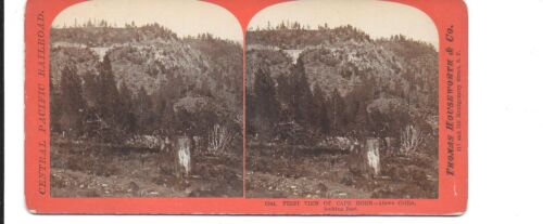 Houseworth Stereoview – First View of Cape Horn above Colfax Central Pacific RR