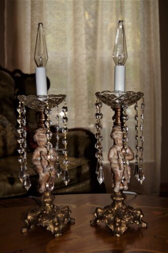 2 VTG FRENCH STYLE METAL CRYSTAL CHERUB LAMPS CHANDELIERS CANDELABRAS  FIXTURES