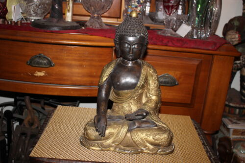 Antique Chinese Bronze Brass Buddha Statue-Dragons-Religious Spirituality-Asian