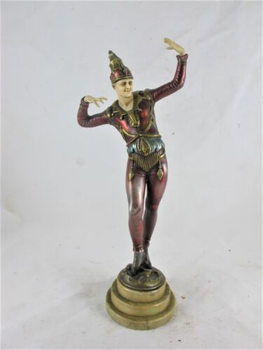 ART DECO COLD PAINTED SPELTER FIGURE OF A JESTER, C1930'S, RESIN HEAD & HANDS.