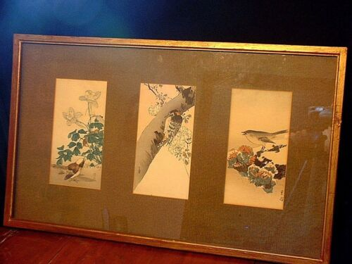 Large Vintage Japanese 3 Panel Triptych Bird Colored Wood Block Prints Signed