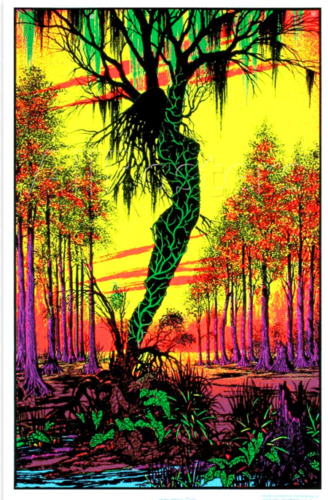 Swamp Mirage - Blacklight Poster - 23x35 Flocked 1978
