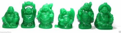 Set of 6 JADE clear COLOR Feng Shui Laughing HAPPY Buddha Figures & Statue Luck