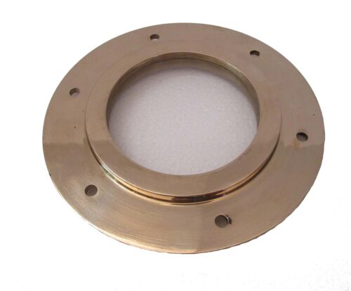 "Marine BRASS PORT HOLE / Window / Porthole - 7"" Outer - TOUGHENED GLASS (5225)"