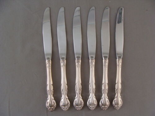6 Silver Plate Table Knives In The Affections Pattern By Oneida Community