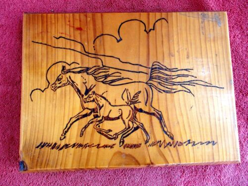 HORSE  AND  FOAL  ETCHED  INTO WOOD  WALL HANGING