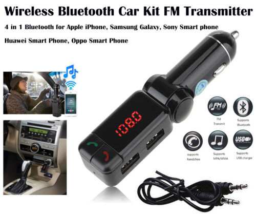 Bluetooth Car Kit FM Transmitter Car Charger MP3 Player USB for iPhone Samsung