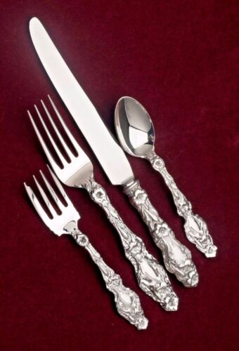 Lily Sterling Silver by Gorham NEW 4 piece Dinner Setting with Box
