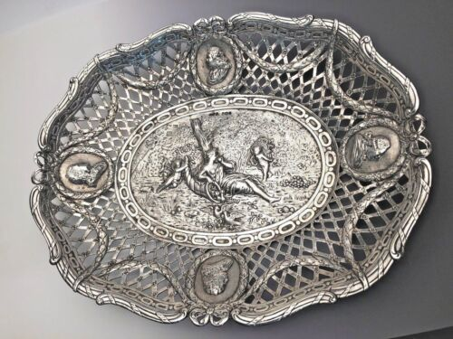 Vintage English Sterling Basket, Ornate with Cherubs and Kings Busts