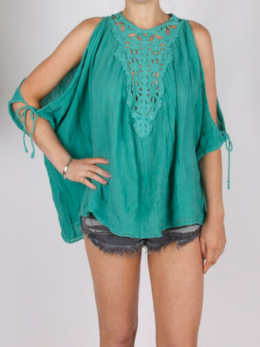 Jen's Pirate Booty African Moon Cotton Tunic Top Holiday Teal Green Crochet S M