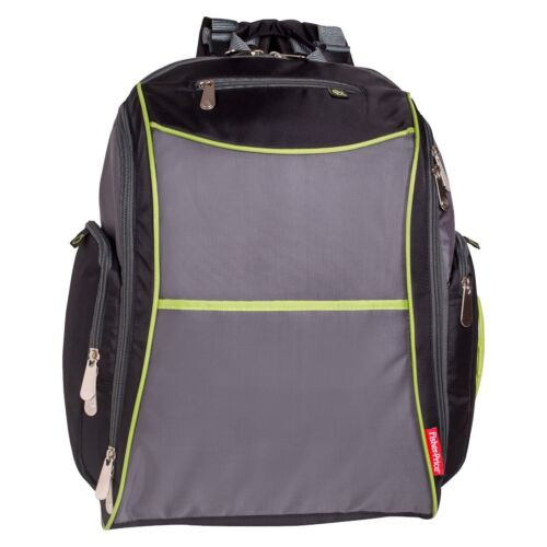 Fisher-Price Urban Backpack Baby Diaper Bag - Black, Lime, Gray NWT