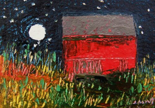 ORIGINAL Night BARN  FARM Moon LANDSCAPE Painting JMW art John Williams