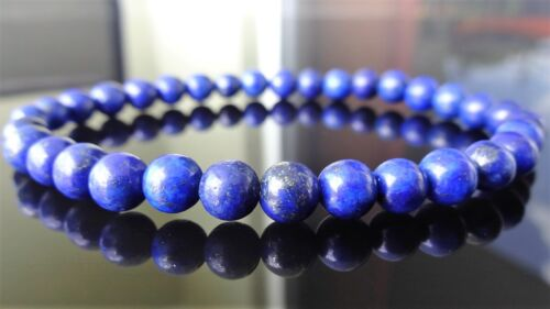 Genuine LAPIS LAZULI bead bracelet for MEN On Stretch AAA Quality 6mm Blue - 8""