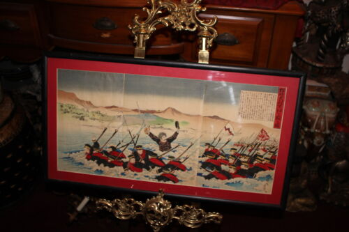Antique Japanese Wood Block Print-Sino Japan War-#6-Color Triptych-Military
