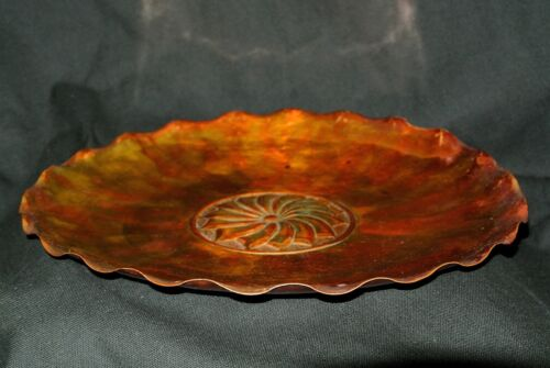 """Vtg Signed Manzoni & Martini Copper Repousse Plate-Gold Wash Patina 11.75"""" Tray"""