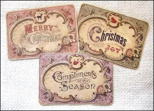 Set of 18 VINTAGE LOOK CHRISTMAS LABELS VICTORIAN Tea stained Primitive Grungy