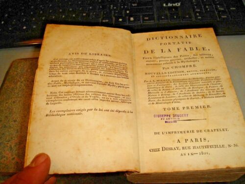 DICTIONNAIRE PORTATIF DE LA FABLE par CHOMPRE' - PARIS 1801 - 2 volumi in 1 tomo