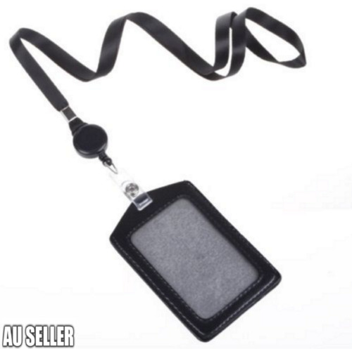 Leather Business ID Badge Card Holder & Retractable Lanyard Neck Strap Band
