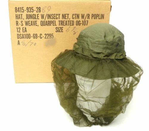 1c276dc284554  24.99 U.S MILITARY VIETNAM BOONIE JUNGLE HAT WITH INSECT MOSQUITO NET OD  GREEN 1969Hats   Helmets -