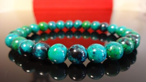 """Genuine Chrysocolla Bead Bracelet for Men (On Stretch) 8mm - 8"""" inch AAA Quality"""