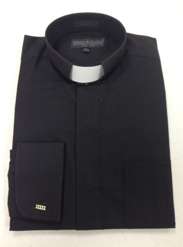 *ALL SIZES* Men's Clerical Clergy Preacher Tab Collar Shirt Black Long Sleeves