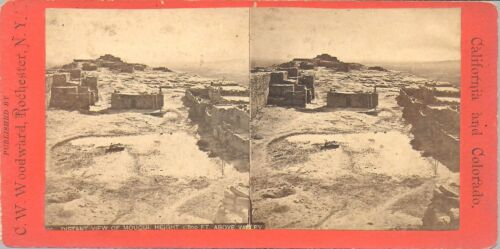 C W Woodward Stereoview of Distant Moqui Pueblo, 1000' Above the Valley c1870s