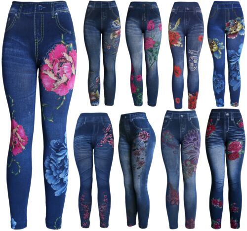 Women's Denim Print Fake Jeans Leggings