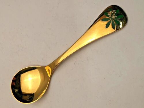 Georg Jensen Denmark Annual Floral Spoon, Gold over Sterling, 1975