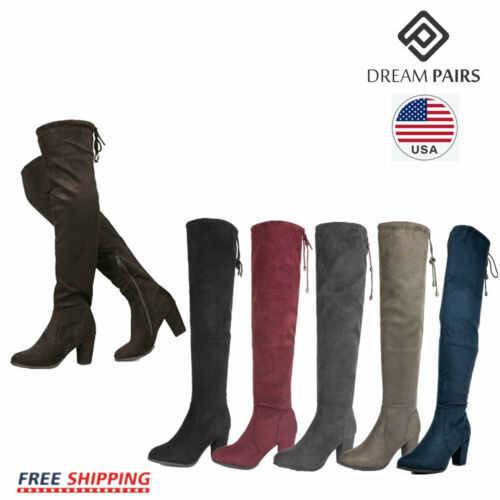 DREAM PAIRS Women's Thigh High Over The Knee Chunky Lace Up Block Heel Boots