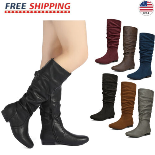 DREAM PAIRS Women's BLVD-W Flat Pull On Fall Weather Knee High Boots Wide Calf