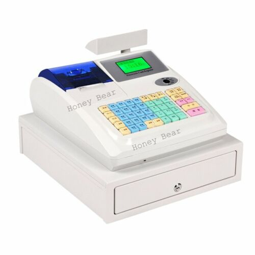 M-3100U White Electronic Cash Register with Drawer 36 Departments