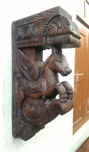 Wall Horse Corbel Wooden Bracket Hand carved Pony Sculpture Statue Home Decor US