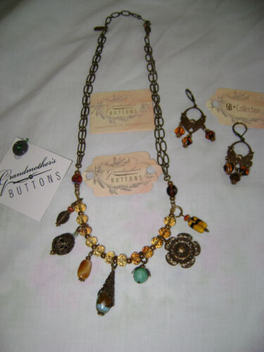Grandmother's Buttons Necklace and Ear Rings ~~` FREE SHIPPING`~~ON SALE !!