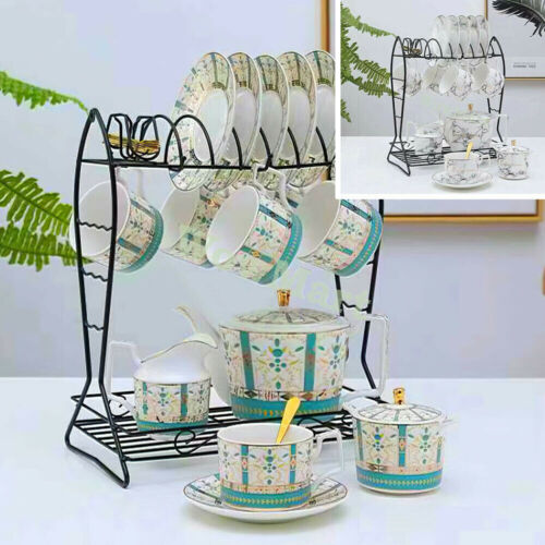 New Porcelain China Pottery 10pc Coffee English Tea Pot Cup Saucer & Stand Set