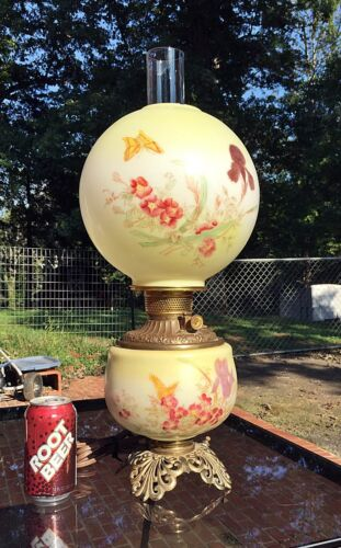 Electrified Antique GWTW Oil Lamp, Hand Painted Iris & Butterfly
