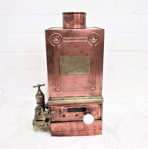 FRENCH ART NOUVEAU COPPER & BRASS GAS HOT WATER HEATER C1900