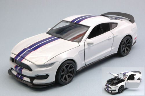 Ford Shelby Gt350r 2016 White W/ Blue Stripes 1:24 Model 71833W NEW RAY