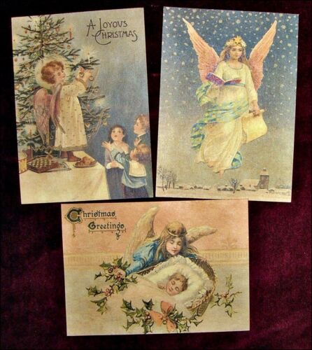 Set of 18 VINTAGE LOOK CHRISTMAS LABELS VICTORIAN ANGELS Primitive/Grungy
