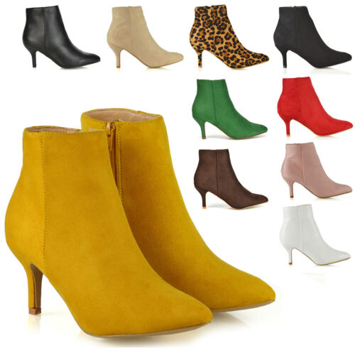 Womens Ankle Boots Low Mid Kitten Heels Ladies Zip Pointy Booties Shoes Size 3-8