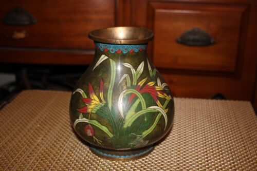 Antique Chinese Cloisonne Vase-Bulbous Shape-Flower Grass-Marked China-Colorful